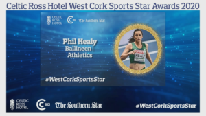 Phil Healy - Overall winner of the night @ The Celtic Ross Online Sports Award - West Cork